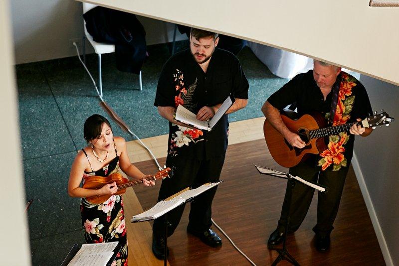 Kim Sueoka, Andrew Kane, David Burk at the wedding of Cara Gould and David Holmberg, Minneapolis, January 2012