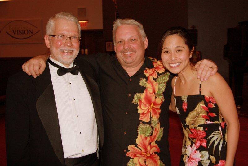 Bill Simpkins, David Burk, and Kim Sueoka after the Ames, IA Concert, February 2013