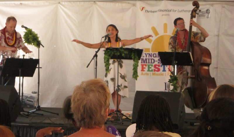 Dave Kapell, Kim Sueoka, and Keith Yanes at Lyngblomsten's Mid-Summer Festival, July 2013