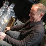 Dave Kapell gets ready to record glass harp parts for our CD