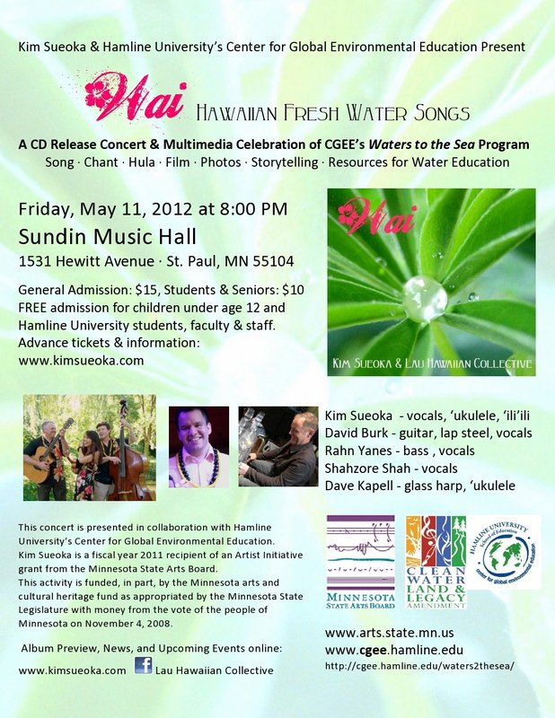 Lau Hawaiian Collective: Wai CD Release Flier, Sundin Music Hall, May 2012