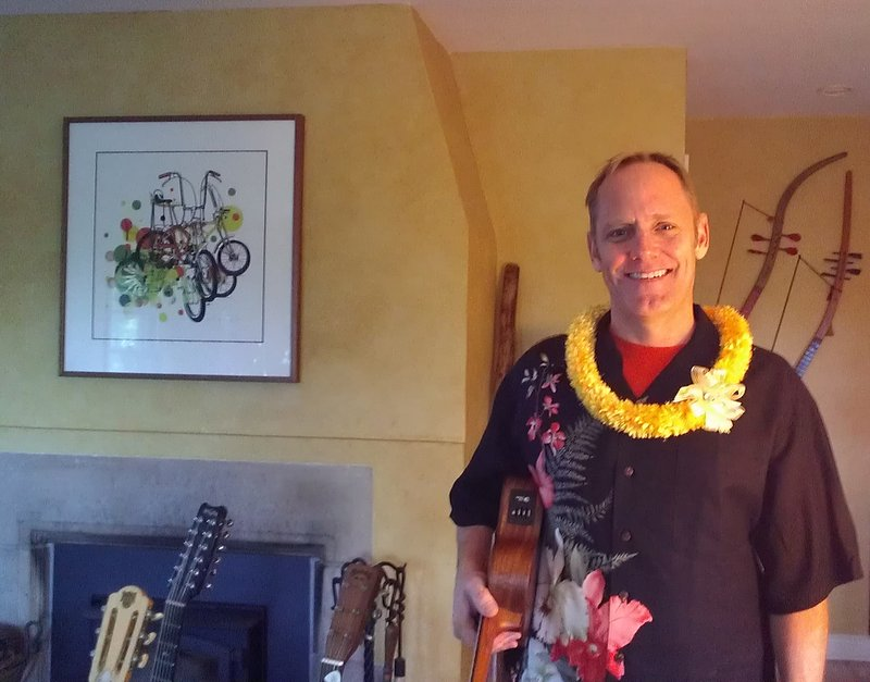 Dave models a ribbon lei made by the Aunties on Kaua'i