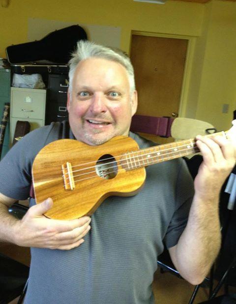 David Burk trying Kim's uke on for size