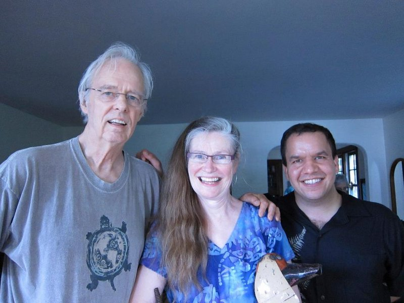 Shahzore Shah, Larry Chewning, and Betty Chewning at Lau Hawaiian Collective home concert, Madison, WI, July 2012.
