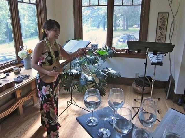 Kim Sueoka at Lau Hawaiian Collective home concert in Madison, WI, July 2012